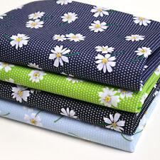 Daisy Floral Fabric Polka Dot POLYCOTTON Blue Navy Green Black Spotty