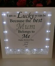 Personalised mum 3D box frame  gift with lights, diamantes & crystals.