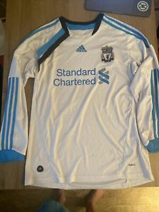 Vintage Adidas 2011/12 LFC Liverpool Third Kit Away Top White Blue Shirt Medium