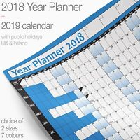 YEAR PLANNER Wall Chart Office/Home Wall Planner Poster ✔+2019 Calendar ✔BLUE