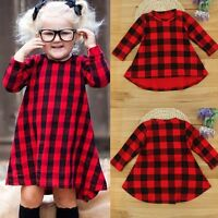Toddler Baby Girls Kids Autumn Clothes Long Sleeve Party Plaid Swing Dress Tops