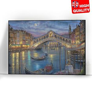 Venice Colourful Landscape Wall Art Poster Italy City | A5 A4 A3 A2 A1 |