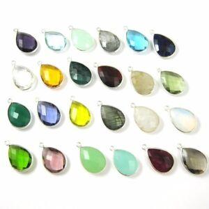 Bezel Gemstone Pendant-Teardrop Pendant - Sterling Silver Charm-13x18mm (2 Pcs)