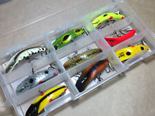 9 x Vintage Lures, Helin Flatfish X4, Some Rare Colours, Made In USA 1970-80s