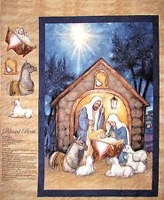 Christmas Nativity Fabric - Blessed Birth Mary Joseph Jesus CP58641 - Wall Panel