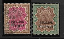 GWALIOR SG35.36 MINT & USED,QV,RUPEE 2 AND RUPEE 3, INDIA INDIAN STATES, RARE