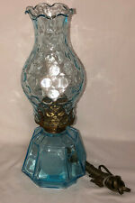 """Fostoria COIN FROSTED BLUE *13 1/4"""" ELECTRIC COACH LAMP"""