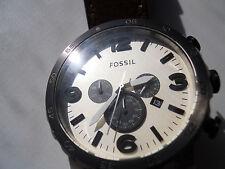 Fossil Chronograph men's brown leather quartz,battery& w.resistant watch.Jr-1390