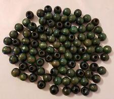 Lot of 100 Vintage 18mm Round Dark Green Olive Wood Macrame Craft Wooden Beads