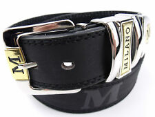Silver Color Buckle Brown or Black Mens Milano 1 Leather Belt//Suit Belt