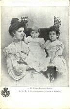 Italy Queen Elena & Children  Jolanda & Mafalda c1905 Postcard