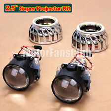 "2.5"" LED Dual Angel Eye Super HID BI-Xenon Projector Lens Headlight Kit Halo F2Y"