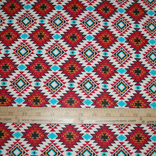 Cotton Fabric Native American Spirit Motif Argyle on Brick Indian   BTY