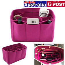 Rose Red Handbag Organizer Purse Insert Bag Makeup Felt Fabric MultiPocket Tote