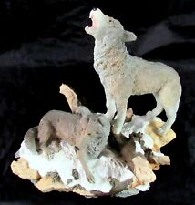 Ceramic Howling Gray Wolves Figurine 6 1/2 x 7 Inches Log Rock Snow