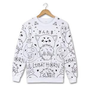GINTAMA Hoodie Sakata Gintoki White Pullover Sweater Adult Long Sleeve Shirt New