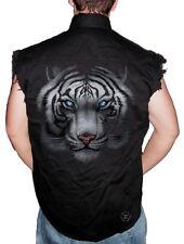 WHITE TIGER Sleeveless Denim Shirt Biker Cut ~ Blue Eyed Tiger ~ COOL