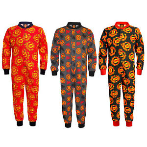 Manchester United Pyjama All-In-One Sleepwear Kids OFFICIAL Football Gift
