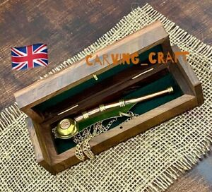 Royal Navy Bosuns Whistle RN Boatswains Call Pipe Brass Copper with hardwood Box