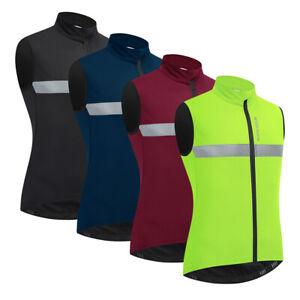 Men's Sleeveless Cycling Vest Fleece Jacket Winter Bike Gilet Thermal Warm Coat