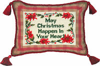 "PILLOWS - ""CHRISTMAS IN YOUR HEART"" PILLOW - PETIT-POINT CHRISTMAS PILLOW"
