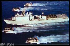 USS Comstock LSD-45 postcard US Navy warship Dock Landing Ship w/LCAC