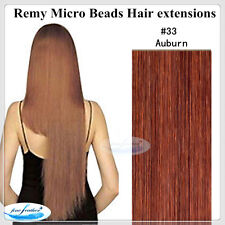 """20"""" Indian Remy Micro Beads I Tip Hair extensions #33 Auburn DOUBLE DRAWN 50pcs"""