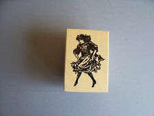 100 PROOF PRESS RUBBER STAMPS GIRL DANCING A JIG NEW wood STAMP