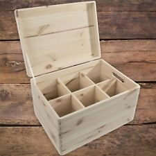 XLarge Plain Wooden Storage Chest Box With Removable Compartments Lid & Handles