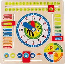 Lernuhr aus Holz Lerntafel enthält Datum Kinder Uhrzeit Lernspielzeug NEU