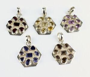 Garnet, Amethyst, Citrine, Iolite, Smoky Quartz Pendant Real Gems 925 Silver