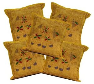 5pcs Brown Indian Sequin Embroidery Elephant Design Pillow Covers AICC552