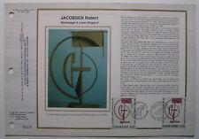 ROBERT JACOBSEN   Feuillet CEF Timbre 1er jour SOIE - 1988