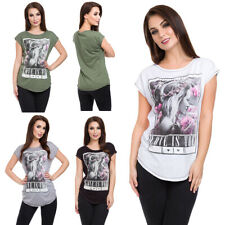 Womens Grunge T-Shirt with Graphics Basic Loose Top with Decorative Seams FB341