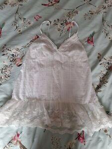 Womens White Lacy Smart Vest Top Size 14 Boho.
