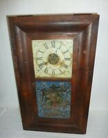 Antique Seth Thomas Ogee Weight Driven Reverse Painted Glass Large Clock Repair