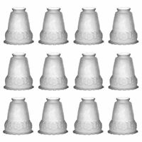"""12 Lamp Shade Frosted Glass Flowers Bell 5 1/2"""" H 2 1/4"""" Fitter