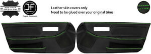 GREEN STITCH 2X FULL DOOR CARD REAL LEATHER COVERS FITS HONDA CRX 1988-1991