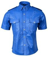 Mens Hot Genuine Real Blue Sheep/Lamb LEATHER Police Uniform Shirt BLUF Gay