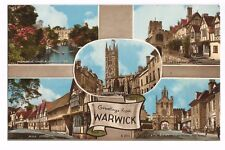 Postcard Warwick Multiview Warwickshire UP  (A20)