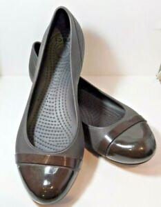 Crocs Women's 8 W8 Cap Toe Ballet Flat Dark Brown Casual Walking Shoes