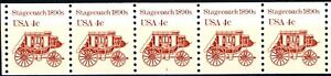 Stagecoach Reprint Block Tagged Coil MNH PNC5 Plate 1 Scott's 2228
