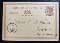 1889 Hong Kong Postal Stationery Postcard Cover To Berlin Germany