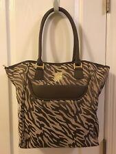 Ann Klein Zebra Print Lap/Travel Tote Bag-Tan/Brown