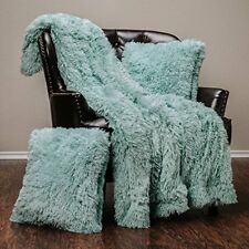 Soft Long Shaggy Chic Fuzzy Fur Faux Aqua Throw Blanket& two Pillow Covers
