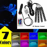 Car Light 7 Colors LED 4 Strips Lamp Cigarette Lighter Head with Remote Control
