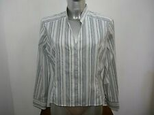 Dorothy Perkins Ladies Smart Fitted White Striped Blouse Shirt UK 16 / EU 44