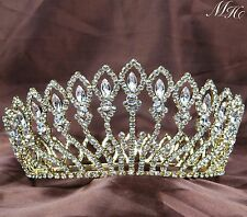 Flowers Full Crowns Clear Rhinestones Crystal Tiaras Pageant Wedding Prom Party