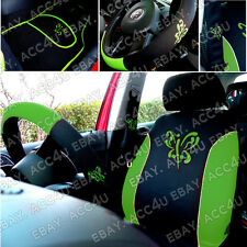 16 Pcs Green Butterfly Black Car Seat Covers Belt Pad Mats Steering Wheel Cover