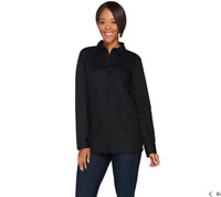 Isaac Mizrahi Live! Long Sleeve Button Front Woven Tunic Blouse Size 16 Black